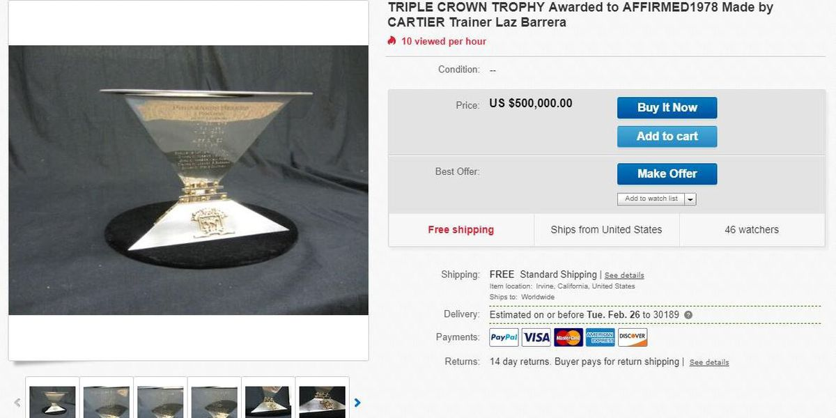 Triple Crown trophy for sale on eBay