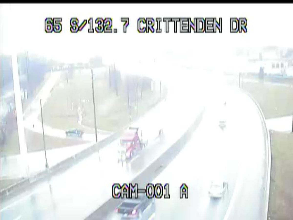 Crash blocks right lane of 65 NB at Crittenden Drive