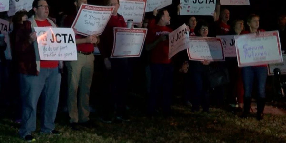 Local teachers rally at Atherton High School to protest education cuts