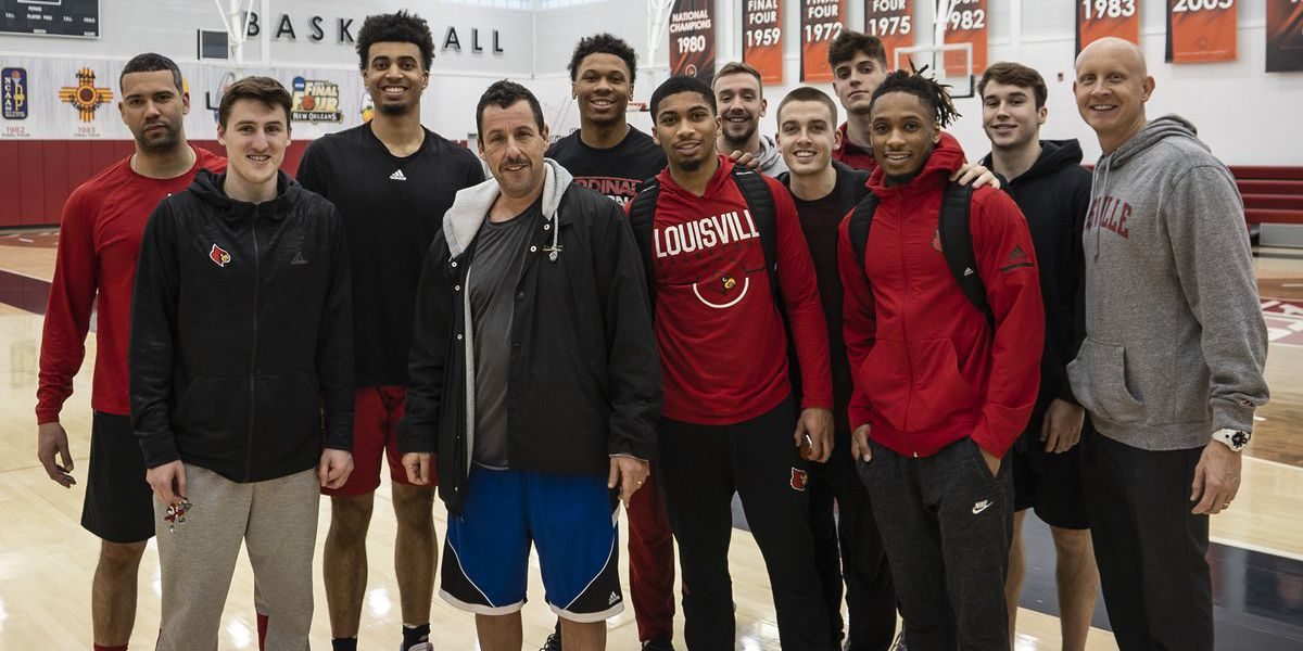 Adam Sandler stops by to hoop with UofL basketball team