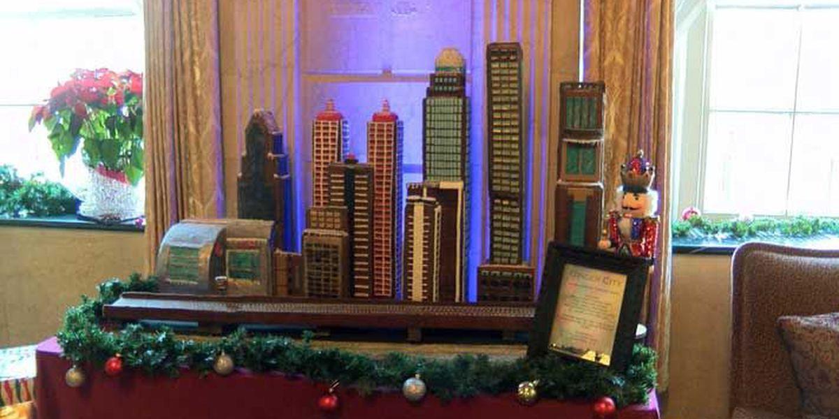 Brown Hotel models 2017 gingerbread creation after Louisville skyline