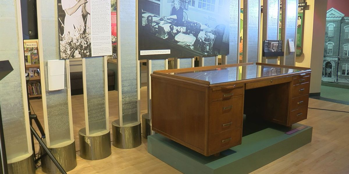 Helen Keller's desk on display at American Printing House for the Blind