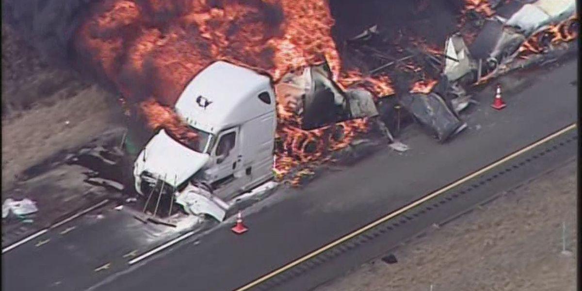 UPDATE: I-65S near Seymour back open after semi crash, chemical fire