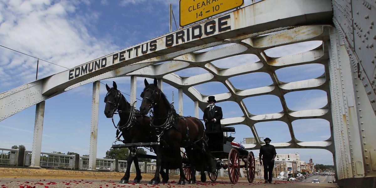 Body of civil rights icon John Lewis crosses Selma bridge