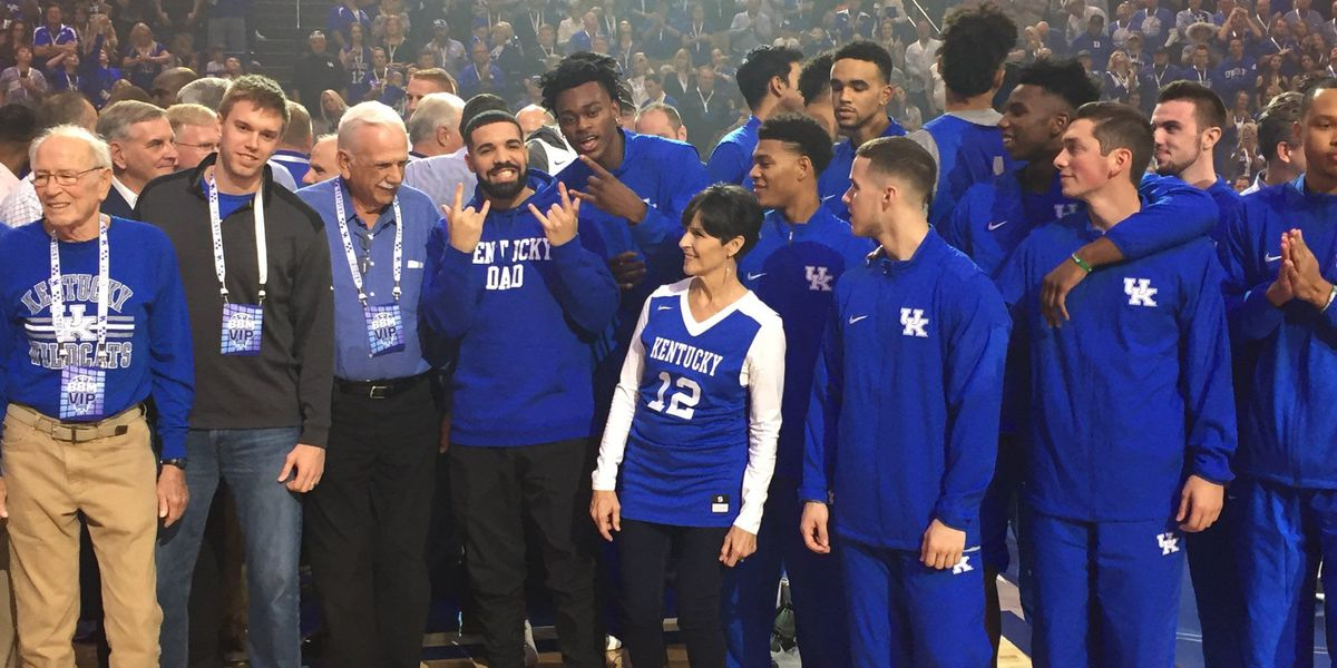 Drake attends Big Blue Madness at Rupp Arena, promises free concert for students