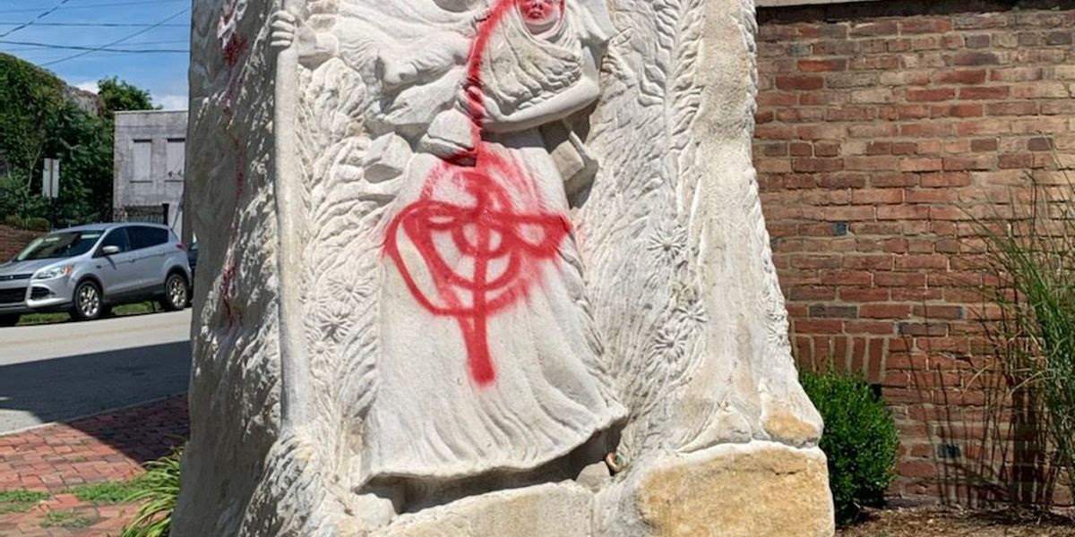 Church statue of woman fleeing slavery vandalized in New Albany
