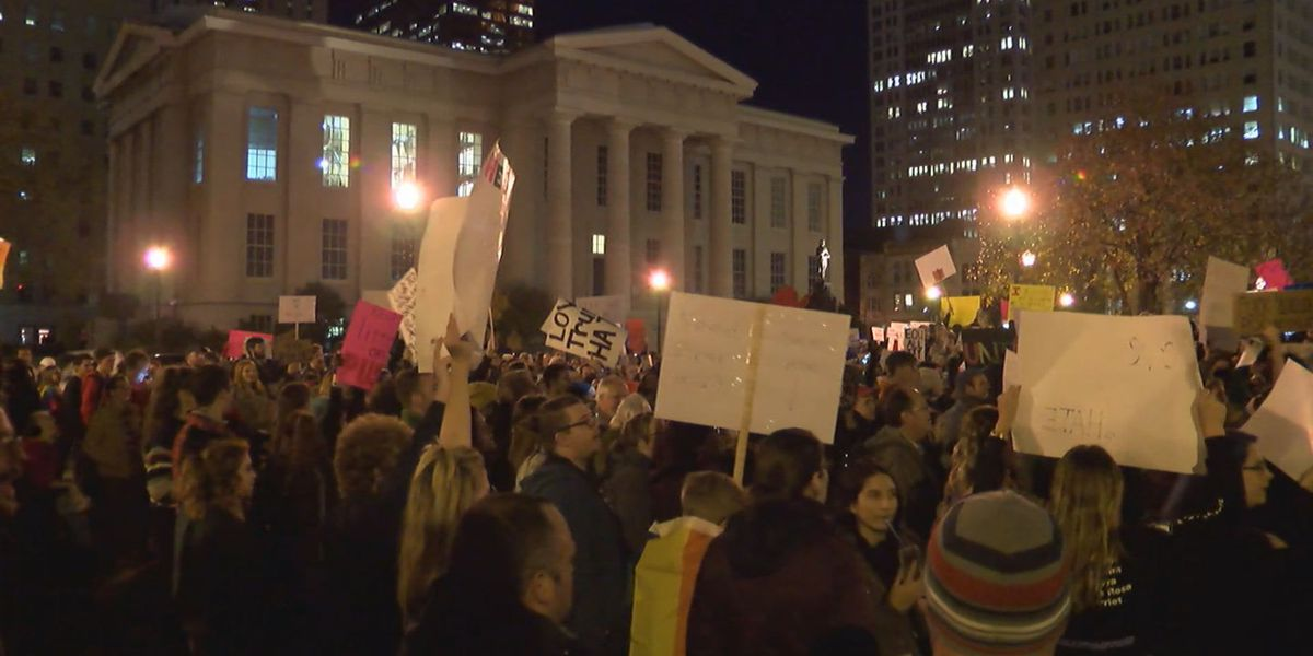 Hundreds protest President-elect Trump at Louisville rally