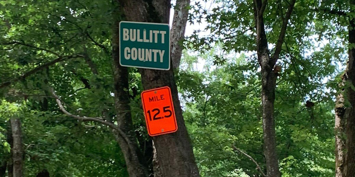 Mile marker signs placed along Floyds Fork, Salt River