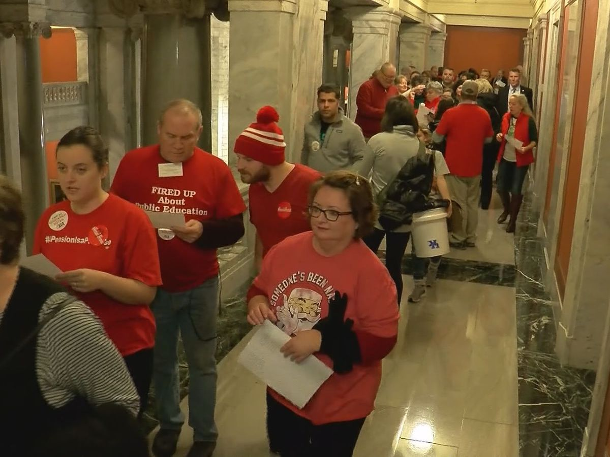 KY teachers show up in force for sudden special session on pension reform