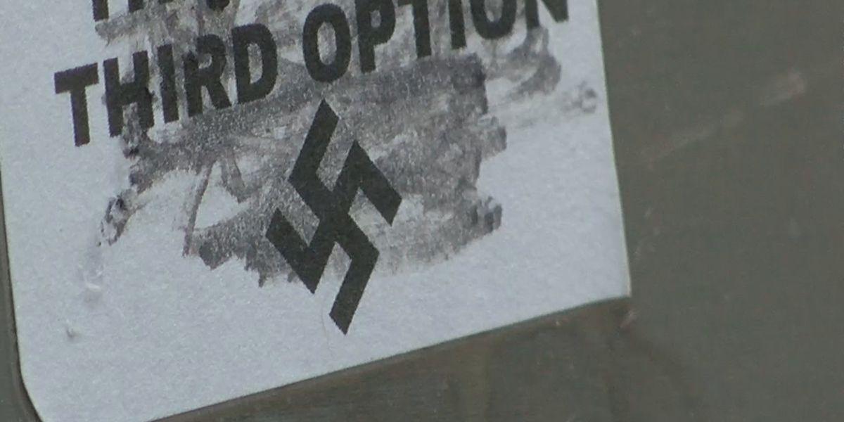 Swastika stickers pop up around downtown New Albany