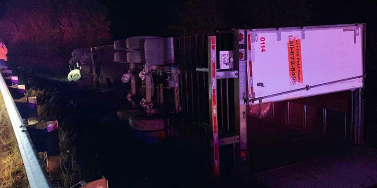 Overturned semi closes I-65 NB, driver arrested