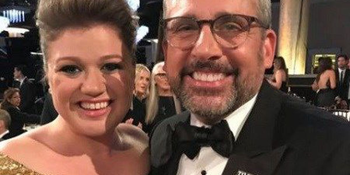 Whoa, Kelly Clarkson! Steve Carell finally gets to meet the singing superstar in person