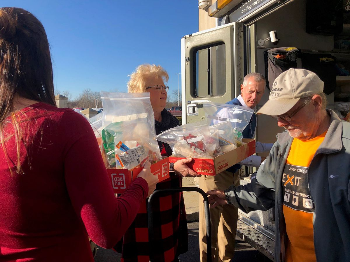 Clark Memorial Health employees donate Blessing Bags to Jesus Cares at Exit 0