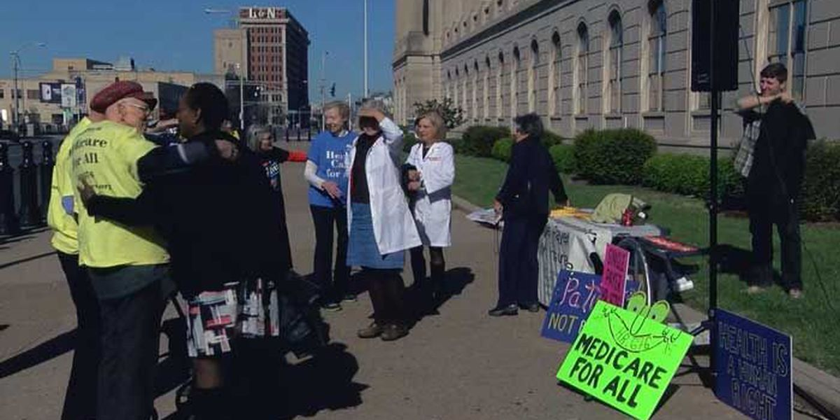 Protesters gather in Louisville to protest President Trump's healthcare plan
