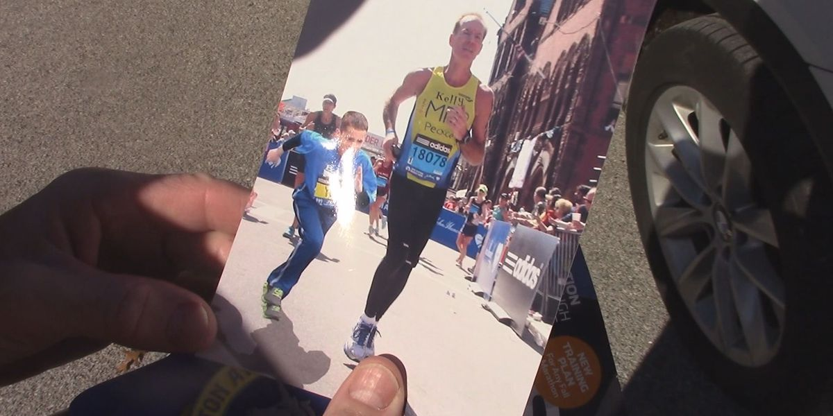 Boston bombing survivor goes on marathon mission for boy he never knew