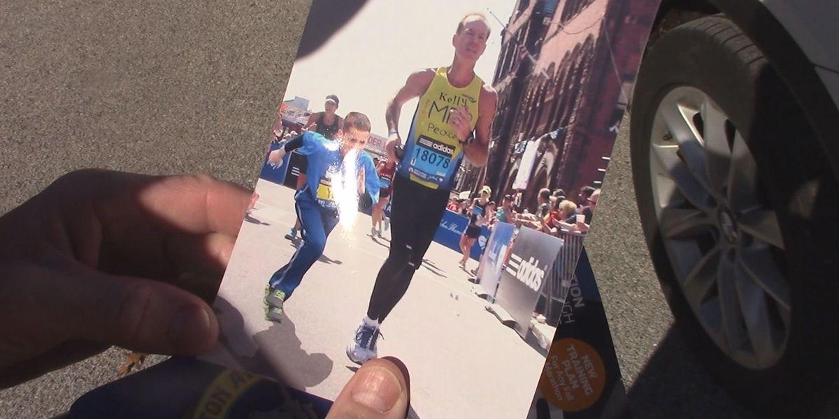 Boston bombing survivor goes on marathon mission for boy he never knew