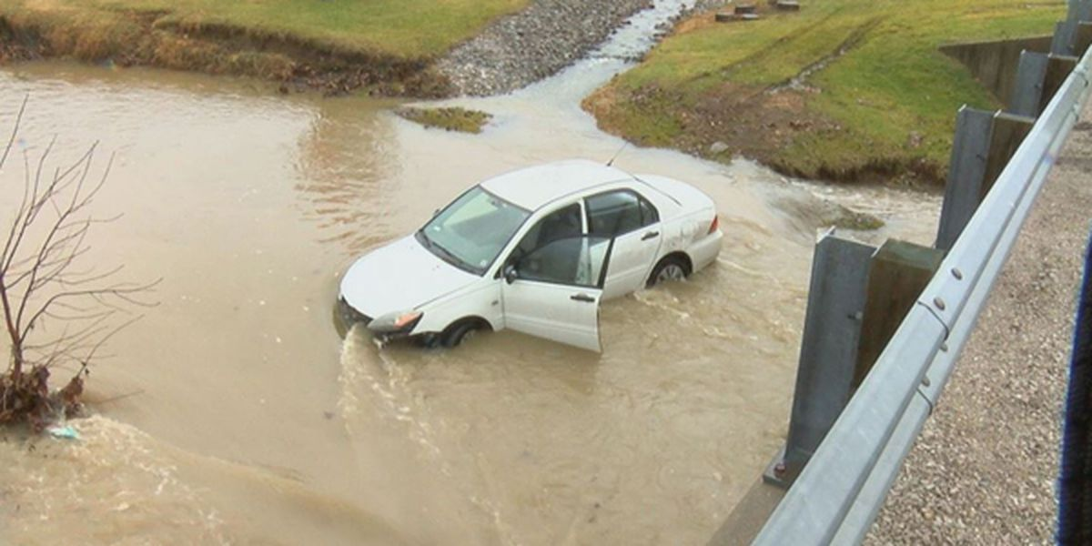 Teen driver ok after car went into creek following church service