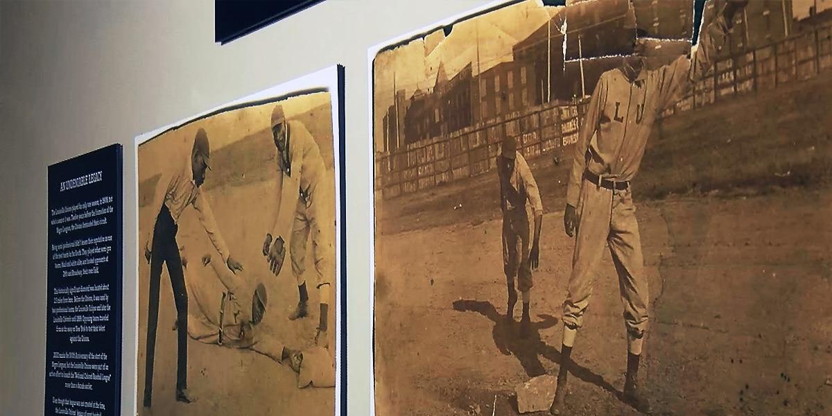 Exhibit highlighting 1908 Louisville African American baseball team on display at Slugger Museum