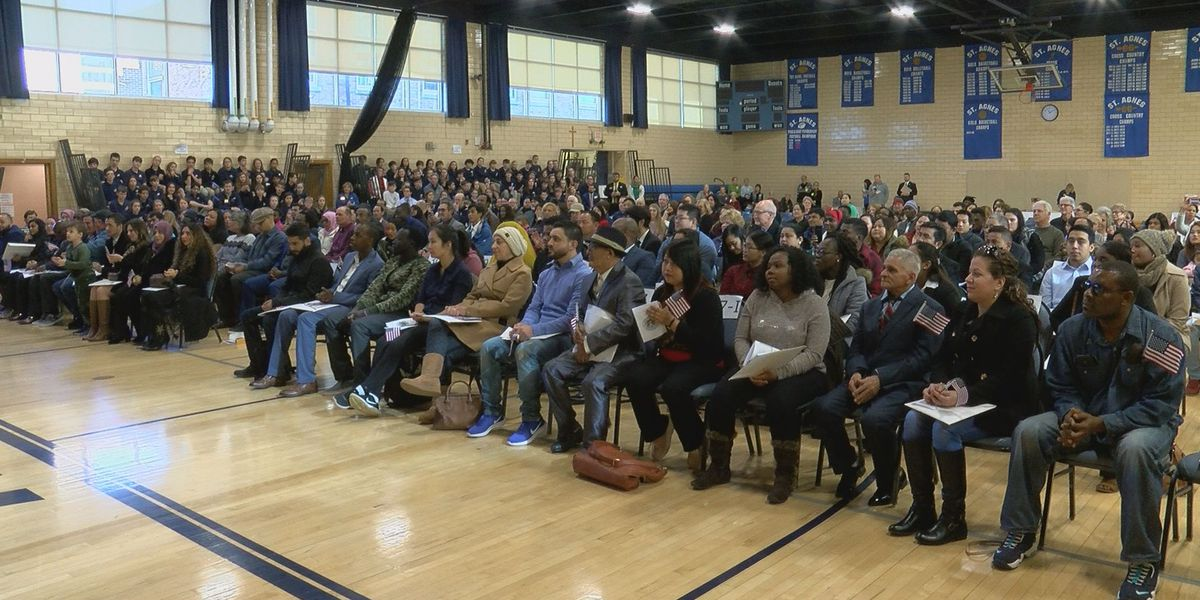 Nearly 100 people become U S  citizens at naturalization