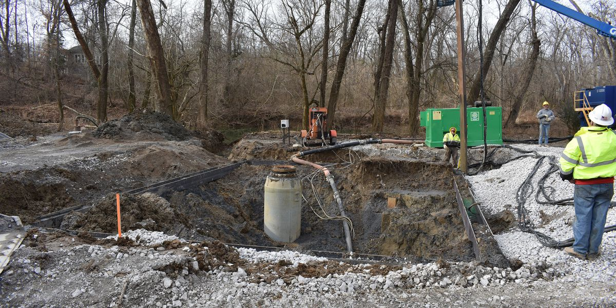 Work continues on large sewer pipe under Harrods Creek