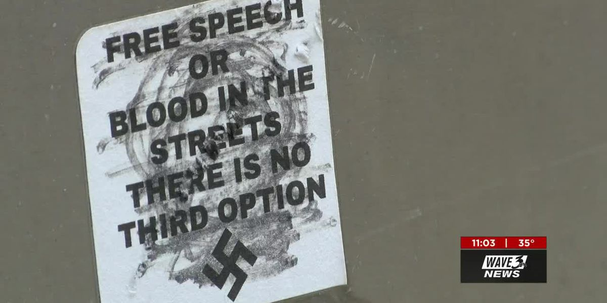Residents, police concerned with swastika stickers appearing in downtown New Albany