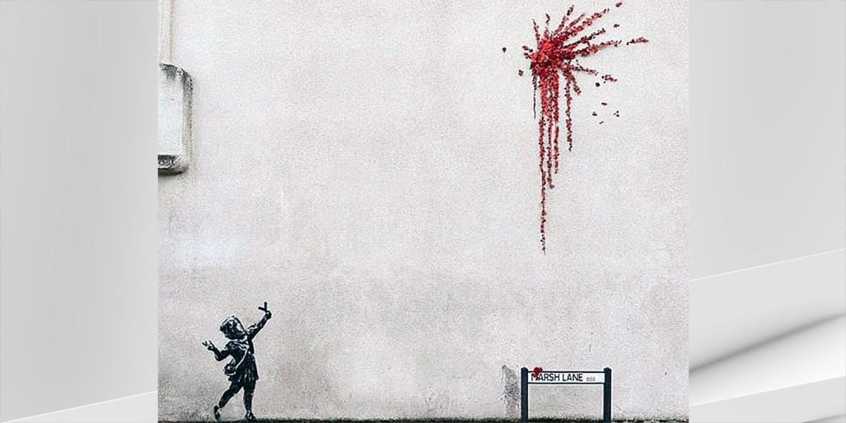 Banksy mural pops up just in time for Valentine's Day