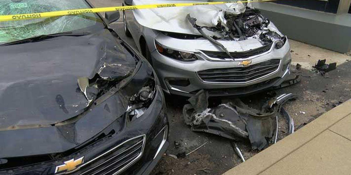 Bizarre wreck destroys more than a dozen cars at Radcliff dealership