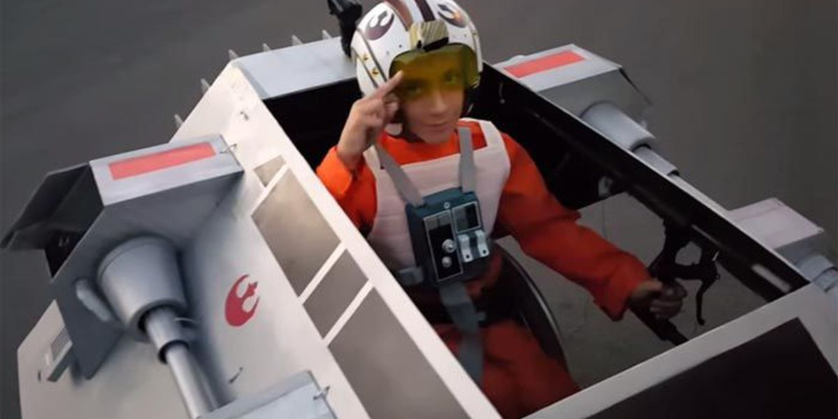 'Best father ever' turns son's wheelchair into awesome Halloween snowspeeder