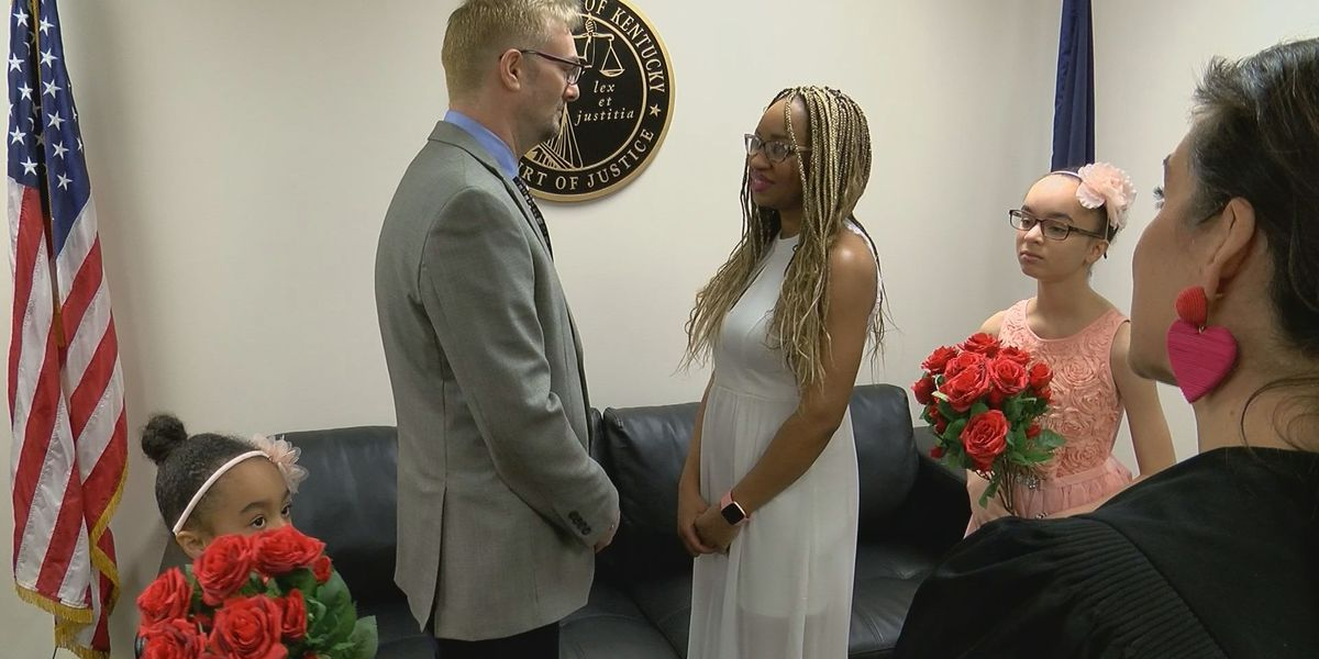 Couple ties knot in Valentine's Day ceremony