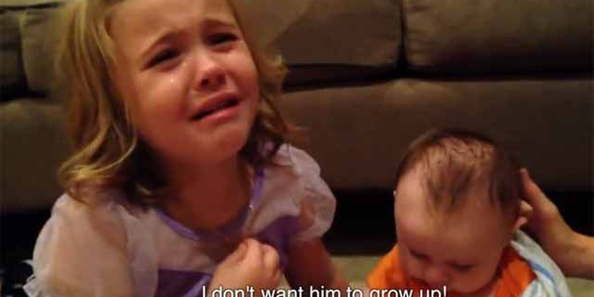 VIDEO: Big sis doesn't want her baby bro to grow up