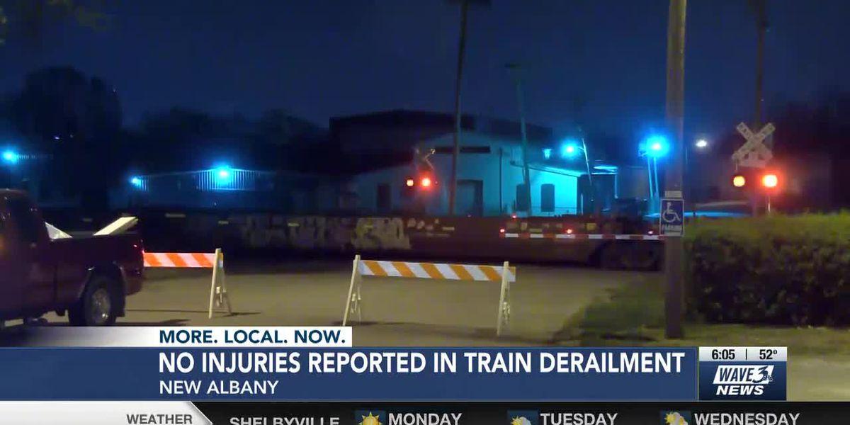 Train derails near downtown New Albany