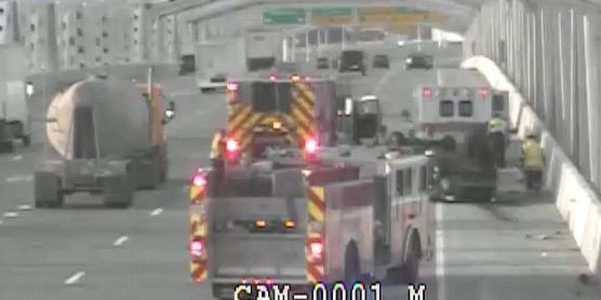 Lanes on Kennedy Bridge open following rollover crash