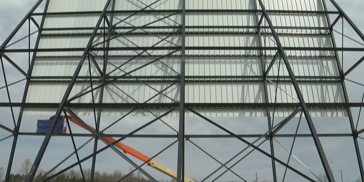Crews work on new screen for La Grange drive-in's grand re-opening