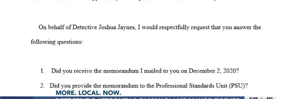 Joshua Jaynes' attorney pens letter challenging LMPD chief's intent to fire him
