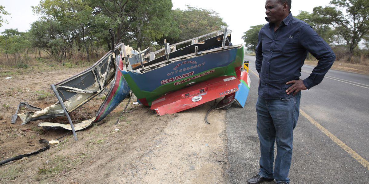 Collision between 2 buses kills 50 in Zimbabwe