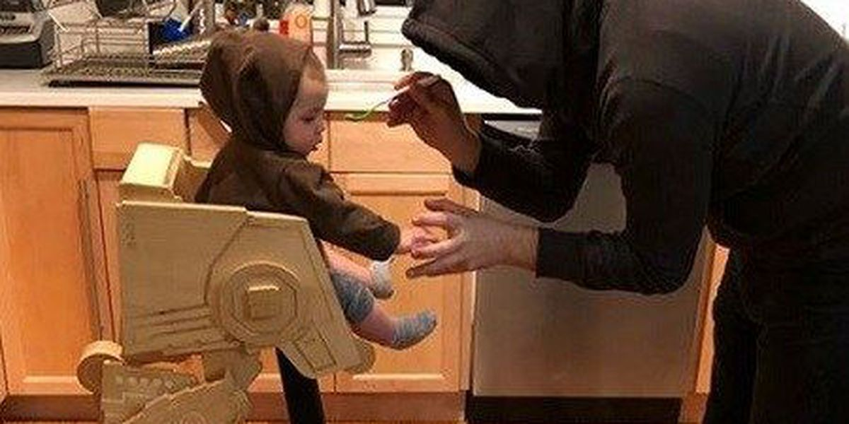 DIY dad makes amazing Star Wars high chair for infant son