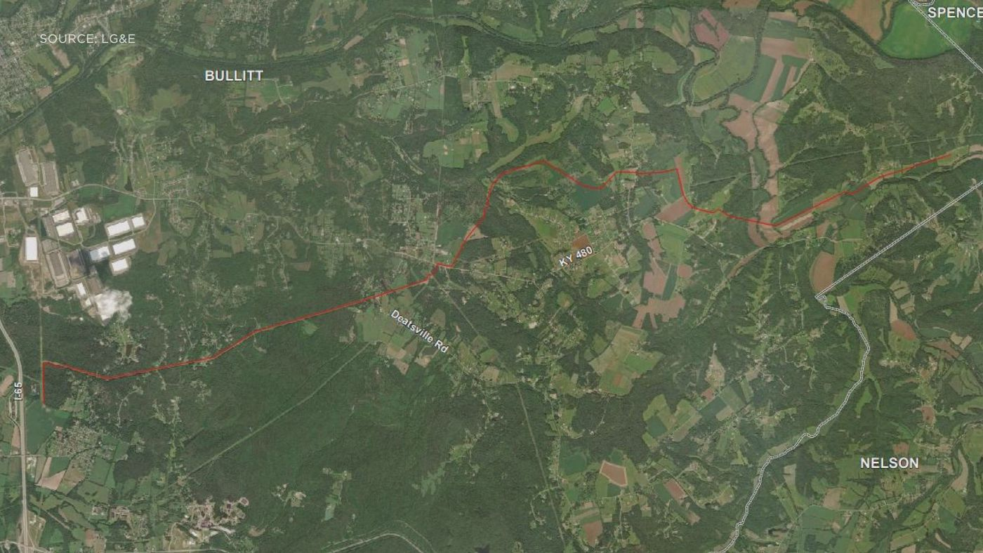 The red line marks where the pipeline would run through the county. (Source: LG&E)