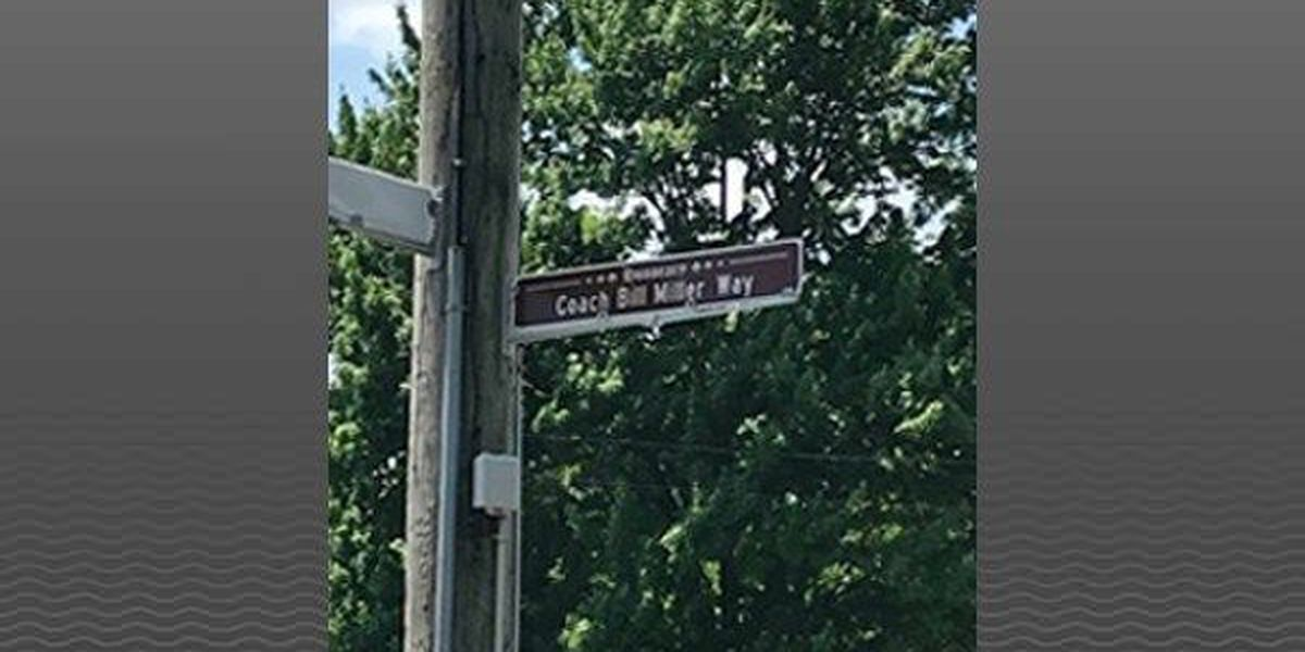 Part of Greenwood Rd becomes 'Coach Bill Miller Way'
