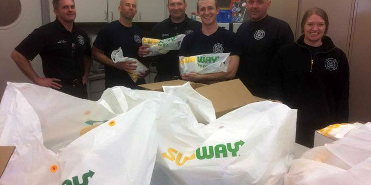 Columbus, IN firefighters receive food donation, pay it forward