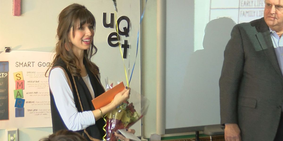 Teacher surprised with National Board Certification pin