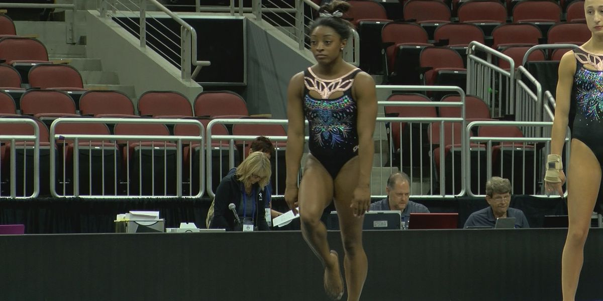 Olympic Gold Medalist Simone Biles prepares for competition in Louisville