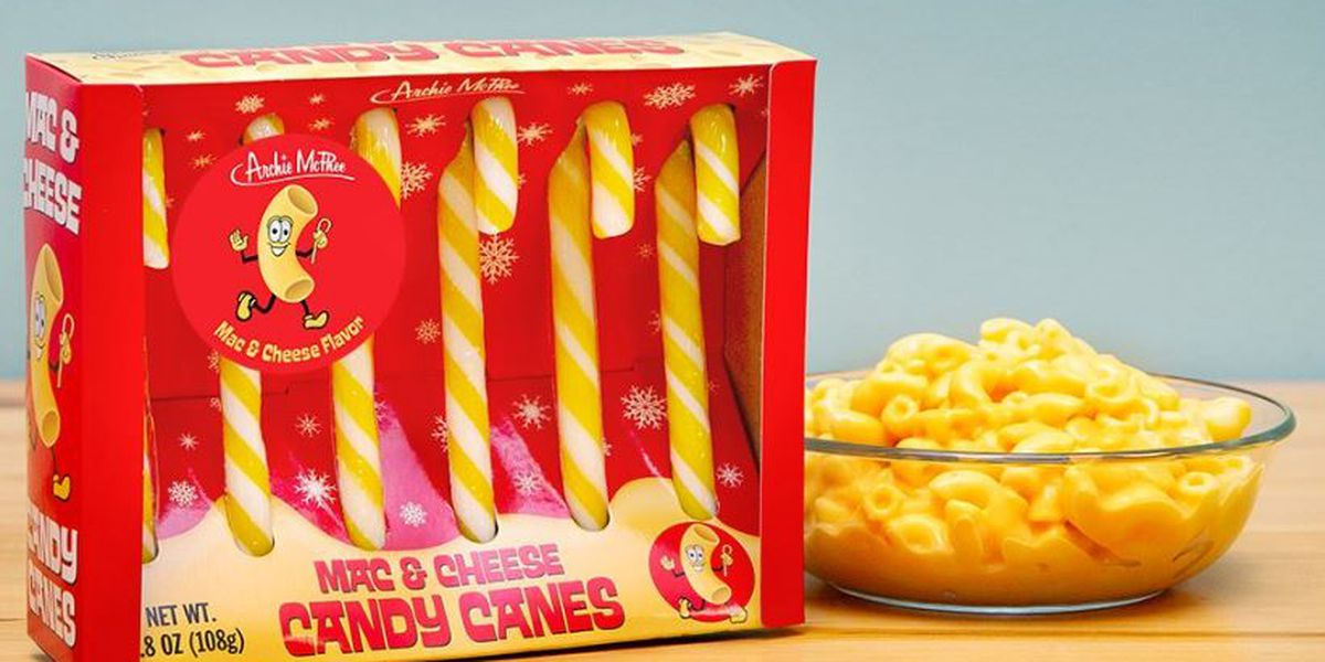 Just in time for the holidays - Mac & cheese candy canes