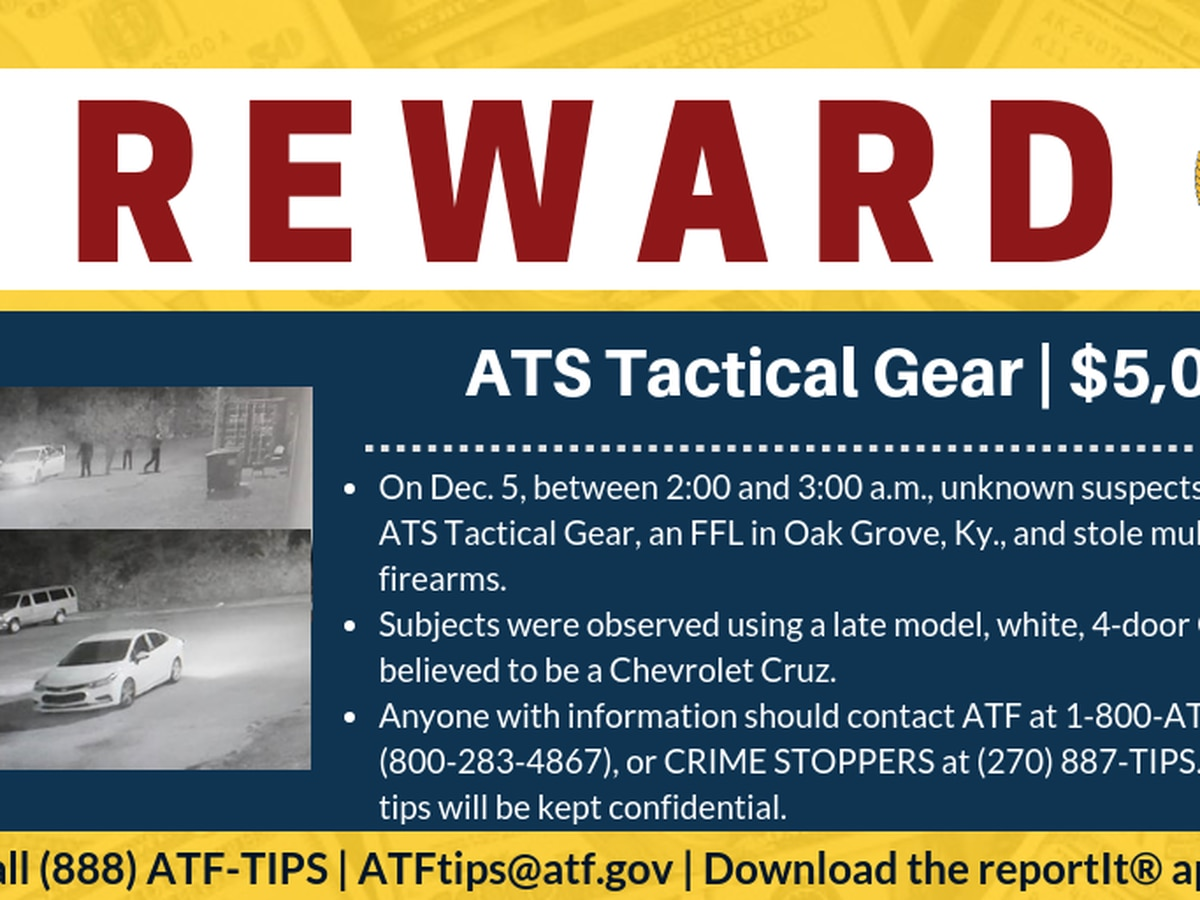 ATF, firearms industry offer reward for information in ATS Tactical Gear firearms burglary