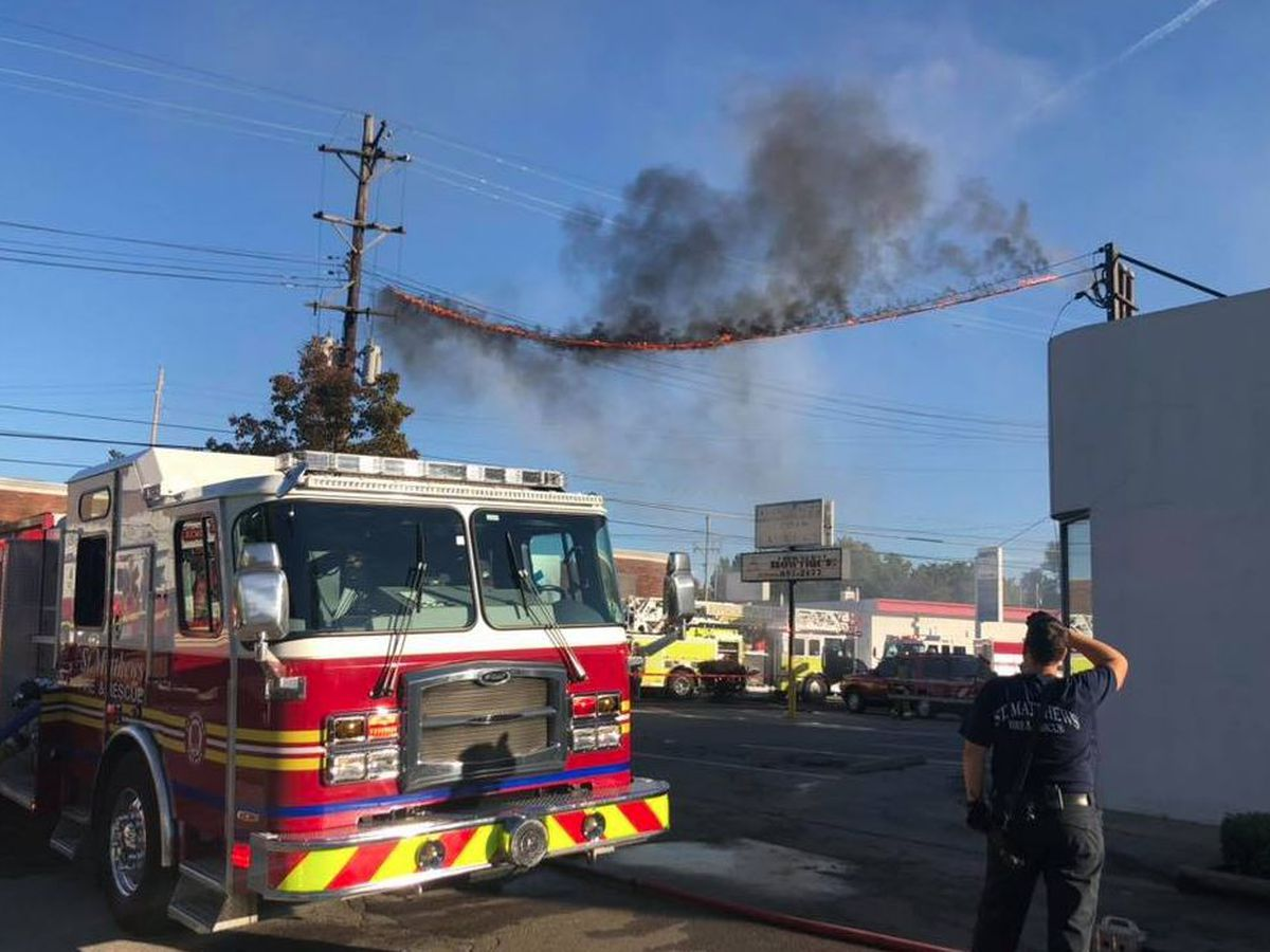 Strip mall catches on fire in St. Matthews