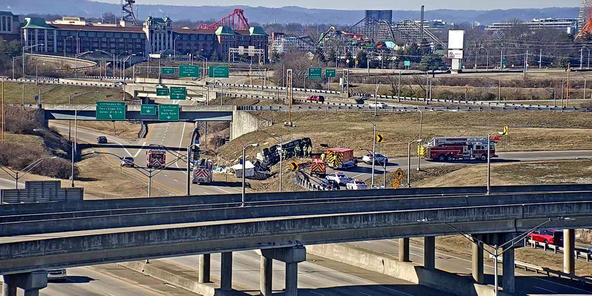 TRAFFIC ALERT: Overturned semi on I-264 West ramp to I-65 South, one lane open