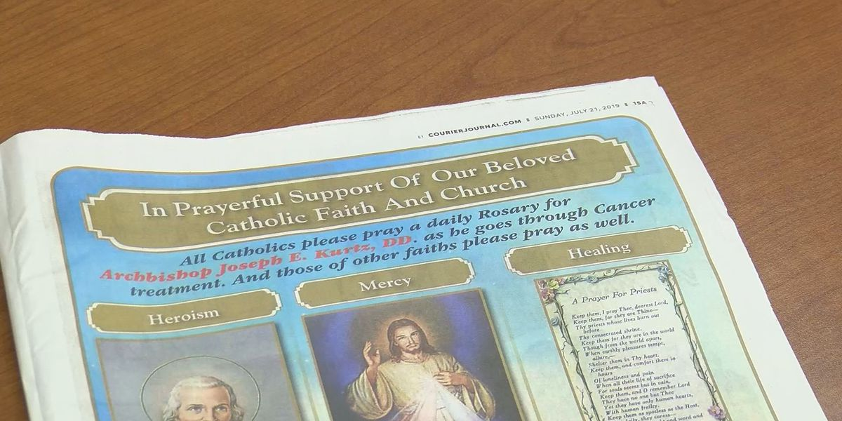 Full-page ad appears in local paper for Archbishop battling cancer