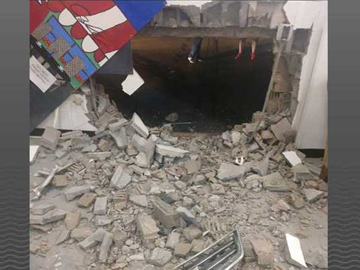 Hole left in school after truck crashes into building